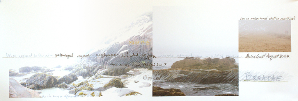 foggy ocean shoreline Maine collaged images with expressive pastel lines and text drawn on the image